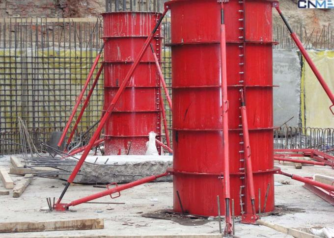 High Stiffness Circular Column Formwork Systems Channel Steel Material Red Color